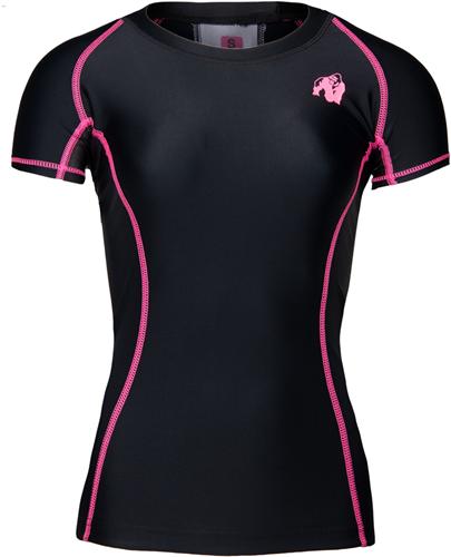 Gorilla Wear Carlin Compression Short Sleeve Top - Zwart/Roze