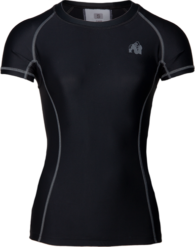 Gorilla Wear Carlin Compression Short Sleeve Top - Zwart Grijs