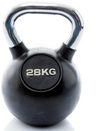 Muscle Power Rubberen Kettlebell - Zwart - 28 kg