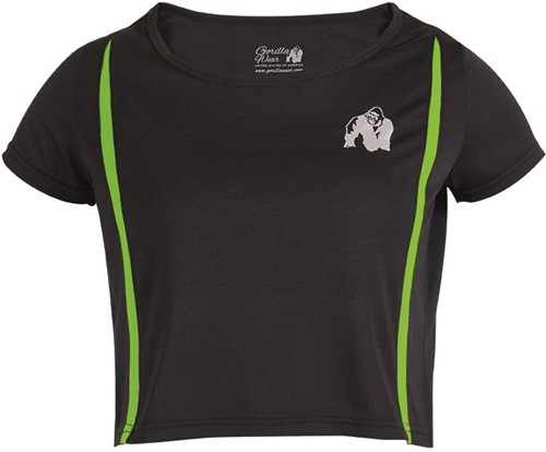 Gorilla Wear Columbia Crop Top Zwart/Neon Groen