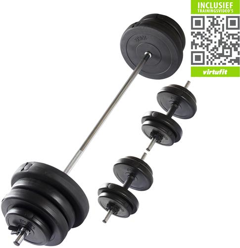VirtuFit Verstelbare Halterset - Dumbbellset - 60,5 kg - Zwart - Gratis Trainingsvideo's