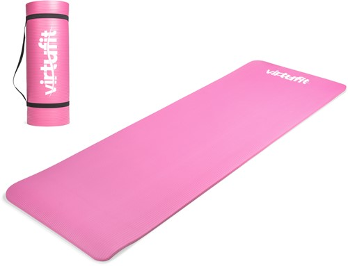 VirtuFit NBR Fitnessmat - 180 x 60 x 1,5 cm - Yogamat met Draagkoord - Roze